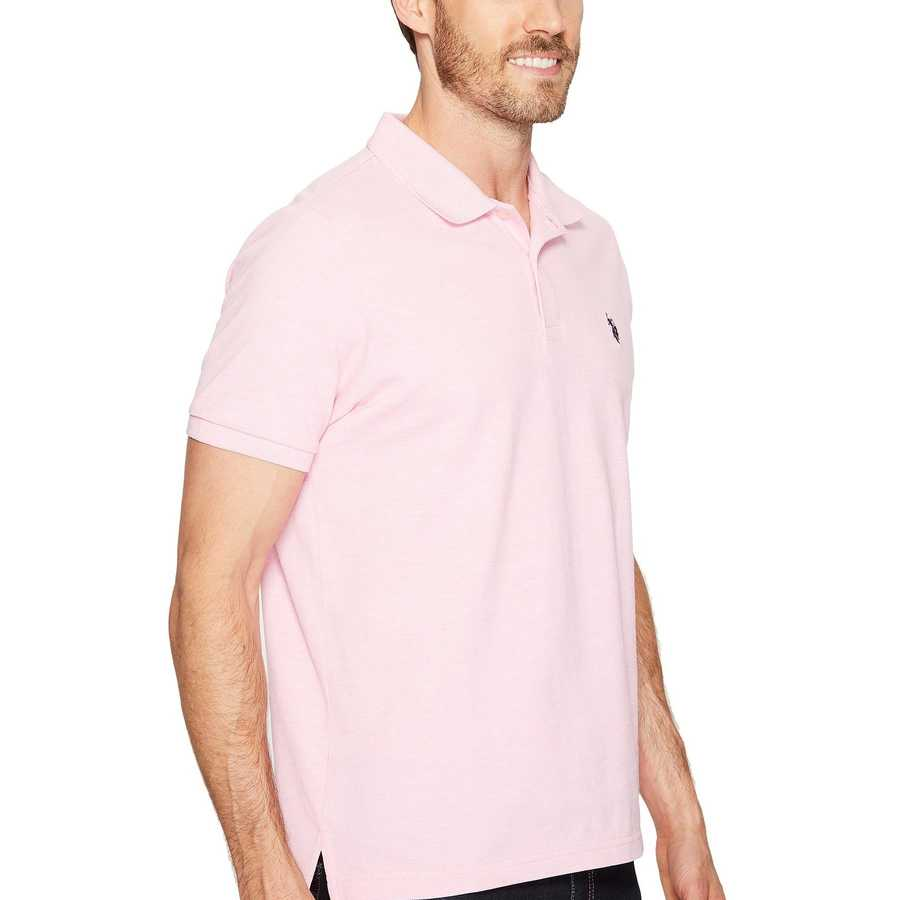 U.S. Polo Assn. Pink Sunset Heather Solid Cotton Pique Polo With Small Pony
