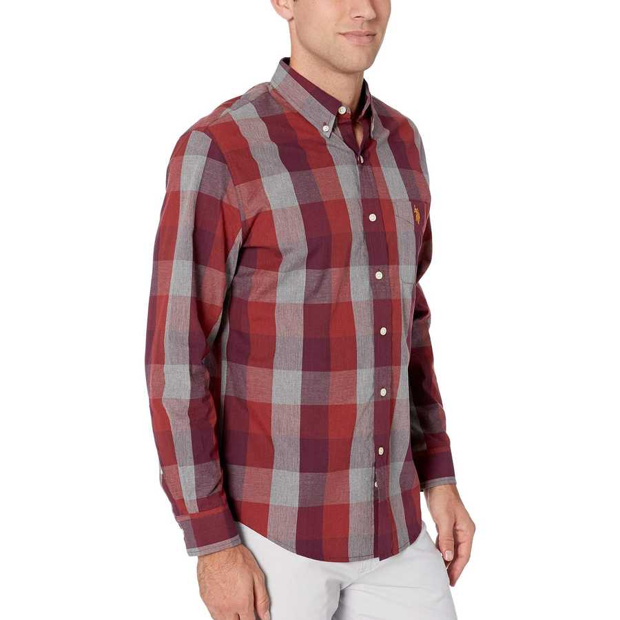 U.S. Polo Assn. Port Wine Heather Long Sleeve Classic Fit Plaid Heather Woven