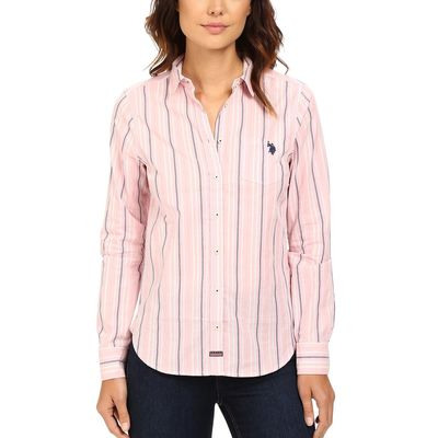 U.S. Polo Assn. - U.S. Polo Assn. Prism Pink Casual Striped Blouse