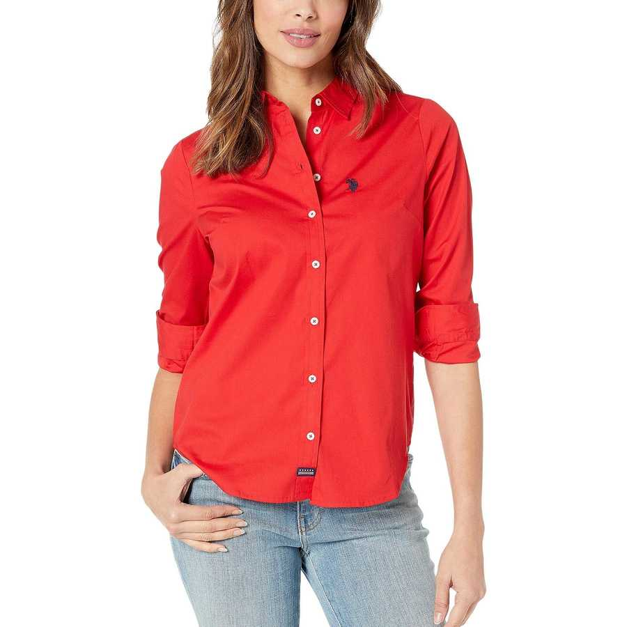 U.S. Polo Assn. Racing Red Long Sleeve Solid Woven Shirt