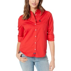U.S. Polo Assn. Racing Red Long Sleeve Solid Woven Shirt - Thumbnail
