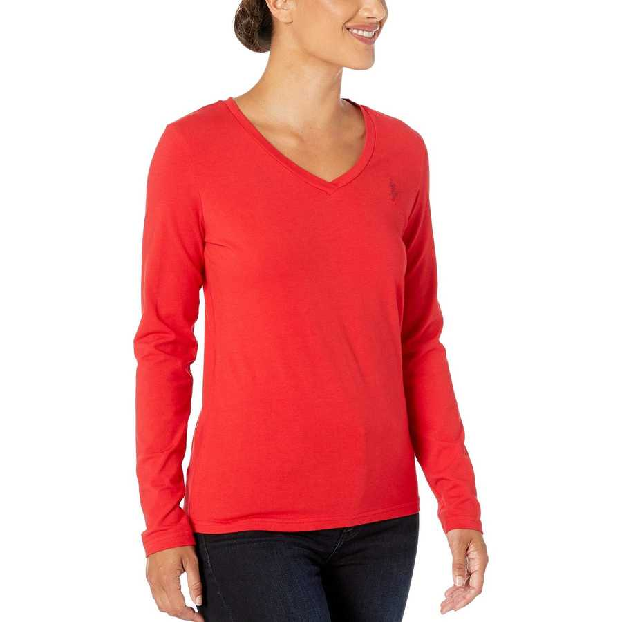 U.S. Polo Assn. Racing Red Solid Long Sleeve Stretch Tee