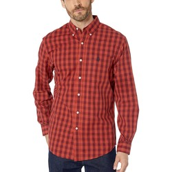 U.S. Polo Assn. Red Heather Long Sleeve Classic Fit Plaid Heather Woven - Thumbnail