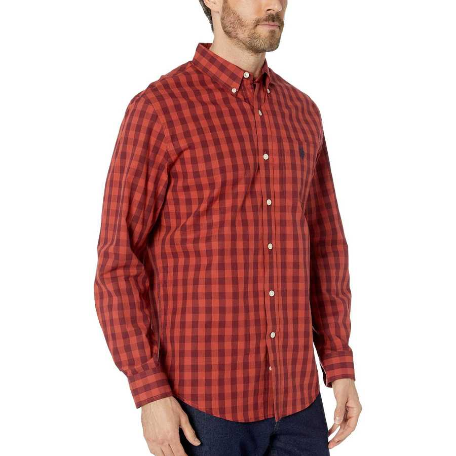 U.S. Polo Assn. Red Heather Long Sleeve Classic Fit Plaid Heather Woven