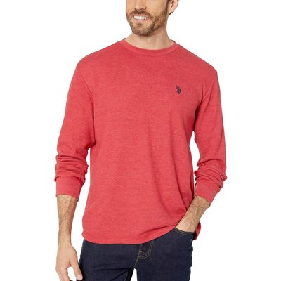 U.S. Polo Assn. - U.S. Polo Assn. Red Heather Long Sleeve Crew Neck Solid Thermal Shirt