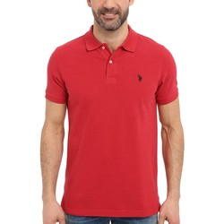 U.S. Polo Assn. Red Heather Solid Cotton Pique Polo With Small Pony - Thumbnail
