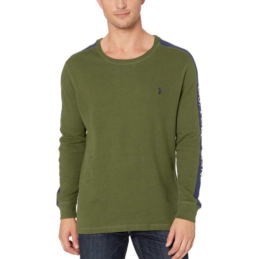 U.S. Polo Assn. Rifle Green Arm Color Block Thermal Crew