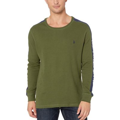 U.S. Polo Assn. - U.S. Polo Assn. Rifle Green Arm Color Block Thermal Crew