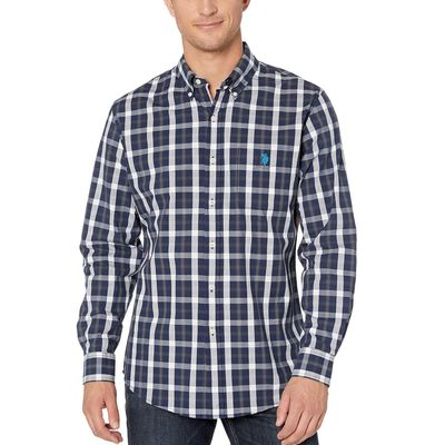 U.S. Polo Assn. - U.S. Polo Assn. Rinse Blue Heather Long Sleeve Plaid Woven