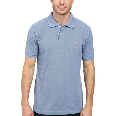 U.S. Polo Assn. - U.S. Polo Assn. Riviera Heather/Connecticut Pink Solid Cotton Pique Polo With Small Pony