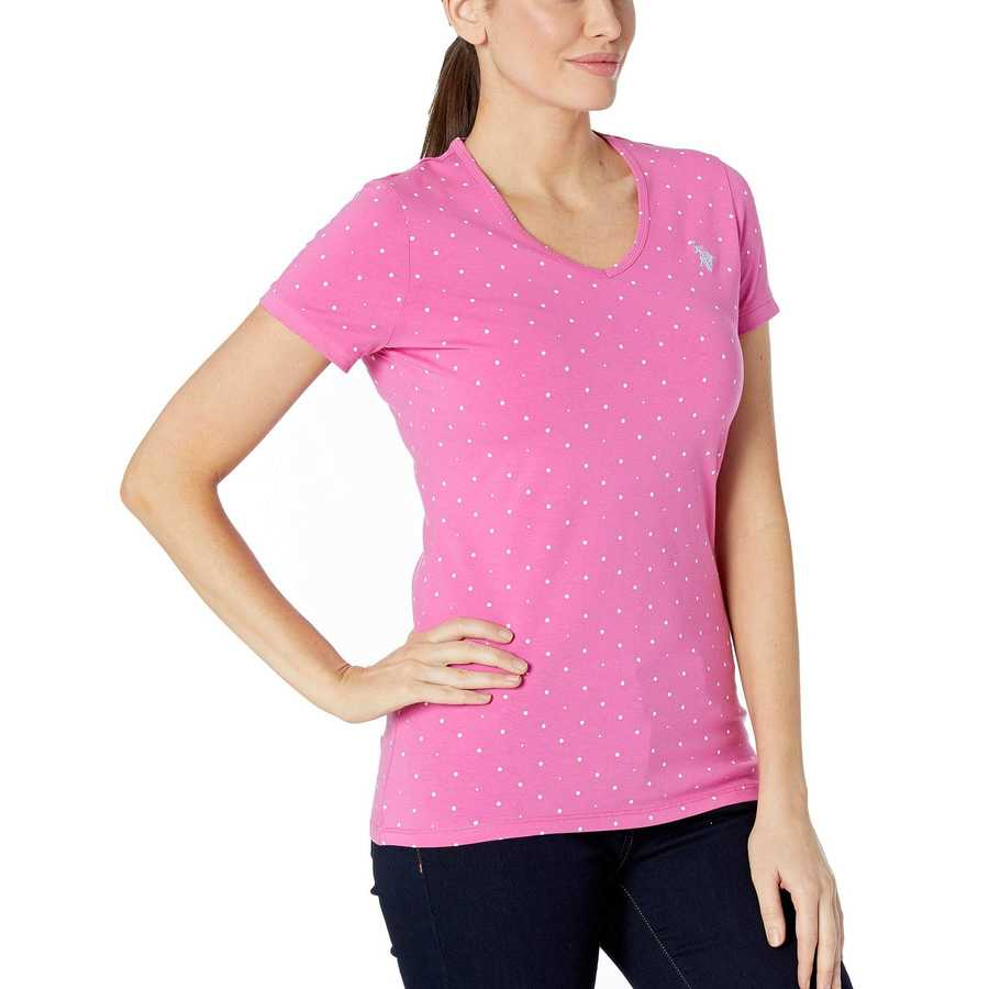 U.S. Polo Assn. Rose Solaire Dot V-Neck Tee