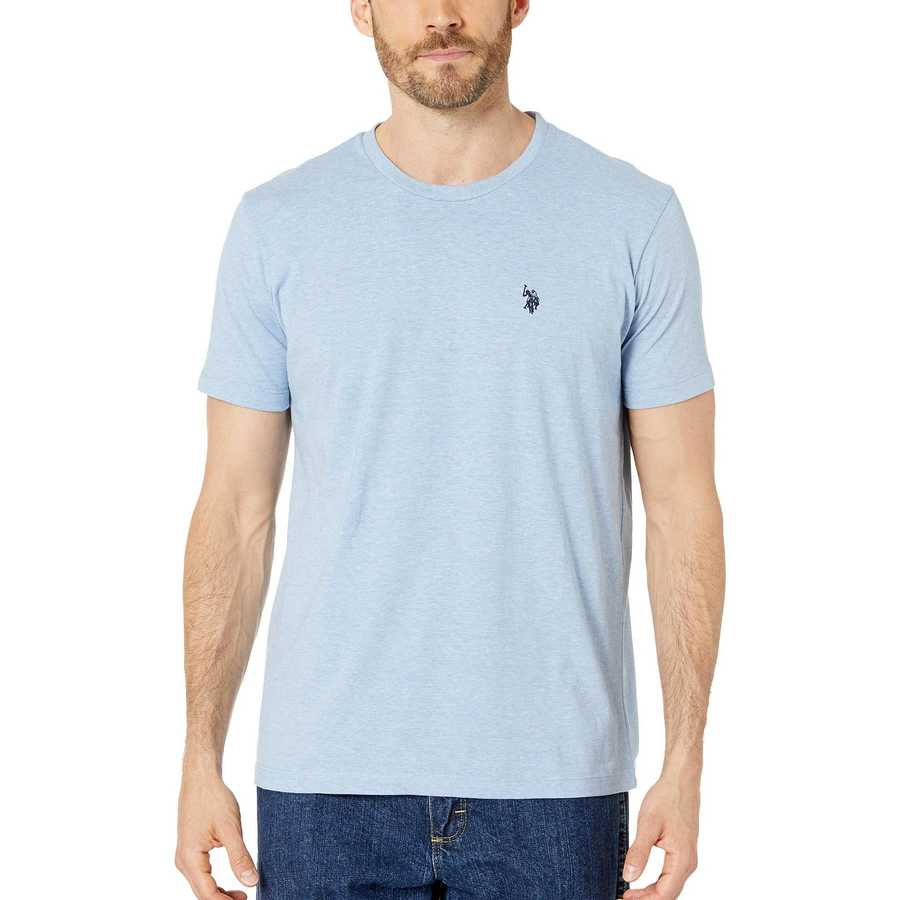 U.S. Polo Assn. Sea Blue Heather Crew Neck Small Pony T-Shirt
