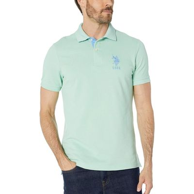 U.S. Polo Assn. - U.S. Polo Assn. Sea Mist Slim Fit Big Horse Polo W/ Stripe Collar