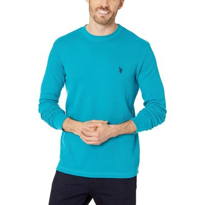 U.S. Polo Assn. - U.S. Polo Assn. Shocking Peacock Long Sleeve Crew Neck Solid Thermal Shirt