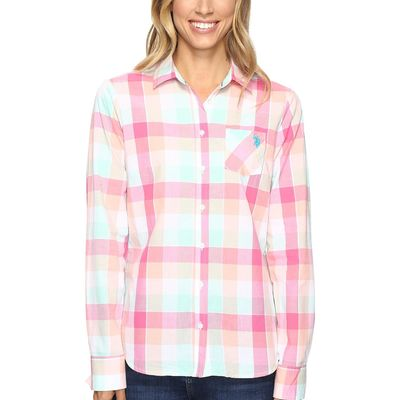 U.S. Polo Assn. - U.S. Polo Assn. Shocking Pink Classic Button Front Poplin Plaid Woven Shirt