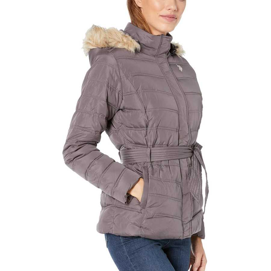 U.S. Polo Assn. Steel Grey Belted Puffer Jacket With Fur Hood