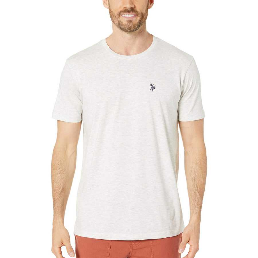 U.S. Polo Assn. Summer Oatmeal Heather Crew Neck Small Pony T-Shirt