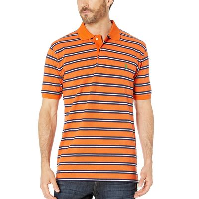 U.S. Polo Assn. Summer Orange Double Stripe Polo