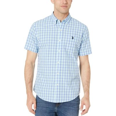 U.S. Polo Assn. - U.S. Polo Assn. Surf Spring Short Sleeve Medium Check Woven Button Down