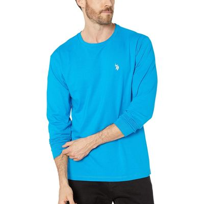 U.S. Polo Assn. - U.S. Polo Assn. Teal Blue Long Sleeve Crew Neck T-Shirt
