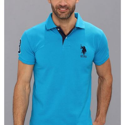 U.S. Polo Assn. - U.S. Polo Assn. Teal Blue Slim Fit Big Horse Polo W/ Stripe Collar