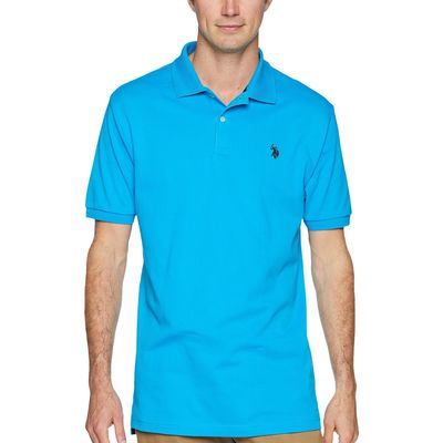 U.S. Polo Assn. - U.S. Polo Assn. Teal Blue Solid Interlock Polo