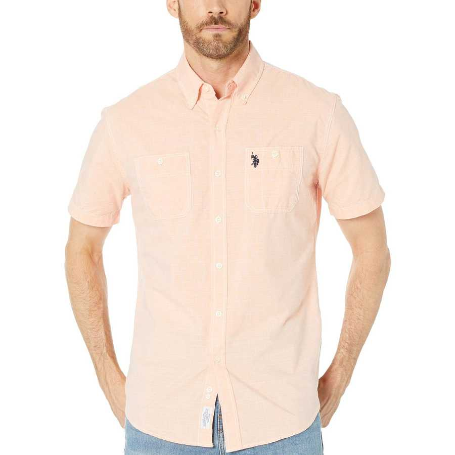 U.S. Polo Assn. Tiger Orange Short Sleeve Woven
