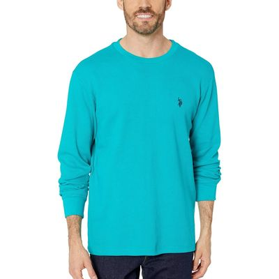 U.S. Polo Assn. - U.S. Polo Assn. Turquoise Clash Long Sleeve Crew Neck Solid Thermal Shirt
