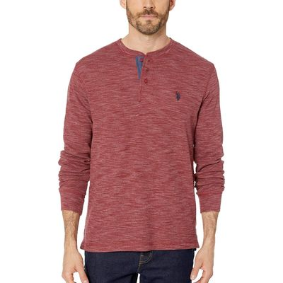 U.S. Polo Assn. - U.S. Polo Assn. University Red Space Dye Thermal Henley