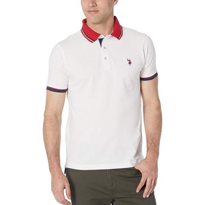 U.S. Polo Assn. - U.S. Polo Assn. White Slim Fit Contrast Pique Polo