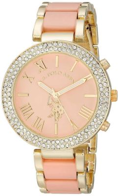 U.S. Polo Assn. - U.S. Polo Assn. Women's Gold-Tone and Pink Bracelet Pink and Gold Toned Dress Watch USC40063 USC40063