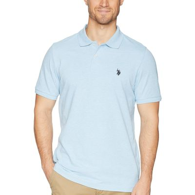 U.S. Polo Assn. - U.S. Polo Assn. Yale Blue Heather Solid Cotton Pique Polo With Small Pony