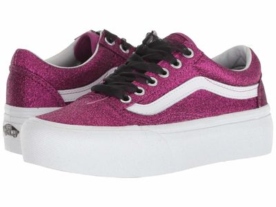 Vans - Vans Women (Glitter) Wild Aster/True White Old Skool Platform Athletic Shoes