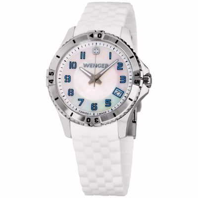 Wenger - Wenger Squadron Lady Mother of Pearl Dial Silicone Strap Ladies Watch 010121104