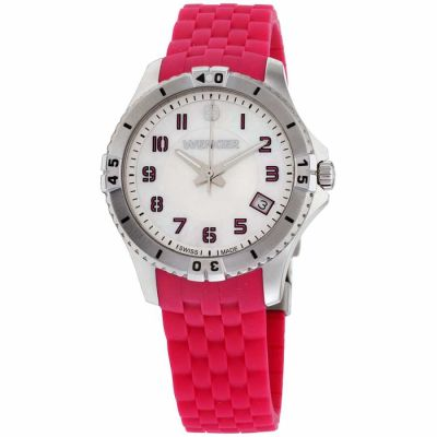 Wenger - Wenger Squadron Lady Silver Dial Silicone Strap Ladies Watch 01.0121.101