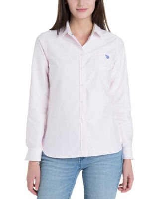 U.S. Polo Assn. - Women Classic Pink Solid Pocket Oxford 213222-S000ACLASSIC-PINK