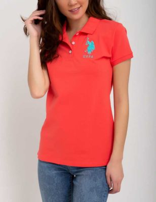 U.S. Polo Assn. - Women Coral Lipstick Polo Shirt With Detailed Collar