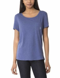 Women Dodger Blue Heather Pocket Tee - Thumbnail