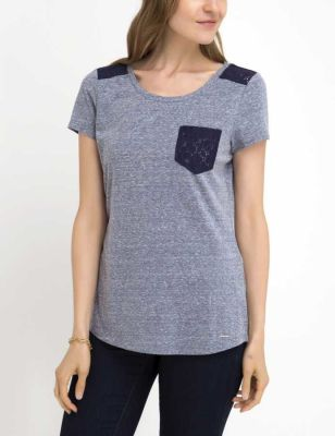 U.S. Polo Assn. - Women Evening Blue Lace Shoulder And Pocket T-Shirt
