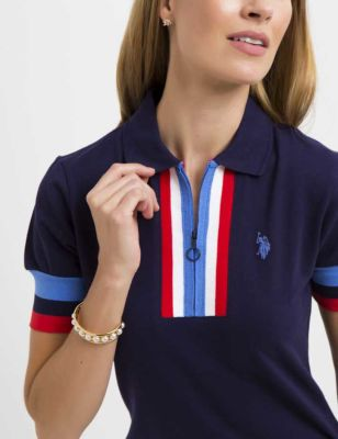 U.S. Polo Assn. - Women Evening Blue Premium Americana Zip Polo Shirt