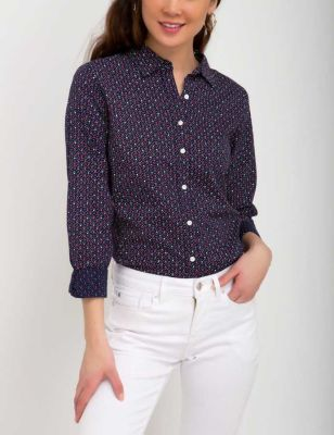U.S. Polo Assn. - Women Evening Blue Sketch Dot Top