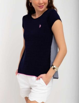 U.S. Polo Assn. - Women Evening Blue Solid Twofer Sweater