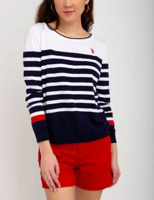 U.S. Polo Assn. - Women Evening Blue Stripe Color Block Sweater