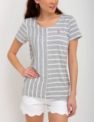 U.S. Polo Assn. - Women Heather Gray Mix Stripe Tee