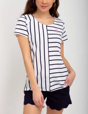 U.S. Polo Assn. - Women Optic White Mix Stripe Tee