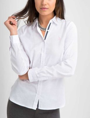 U.S. Polo Assn. - Women Optic White Stretch Oxford Shirt