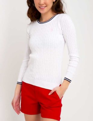 U.S. Polo Assn. - Women Optic White Tipped Cable Crew Neck Sweater