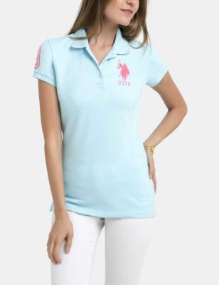 U.S. Polo Assn. - Women Pearlescent Aqua Polo Shirt With Detailed Collar