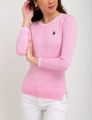 U.S. Polo Assn. - Women Pinks Tipped Cable Crew Neck Sweater