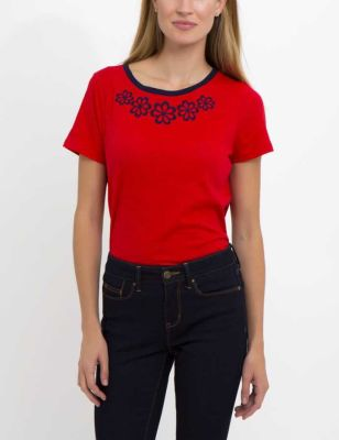 U.S. Polo Assn. - Women Racing Red Floral Detail Tee